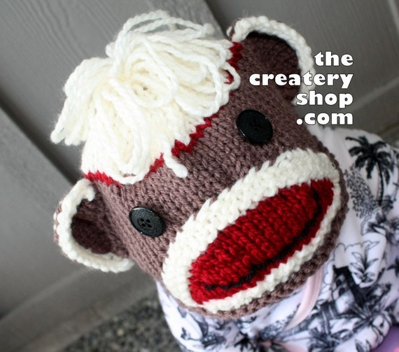 Knitting Pattern Sock Monkey Animal Hat PDF by createry on Etsy