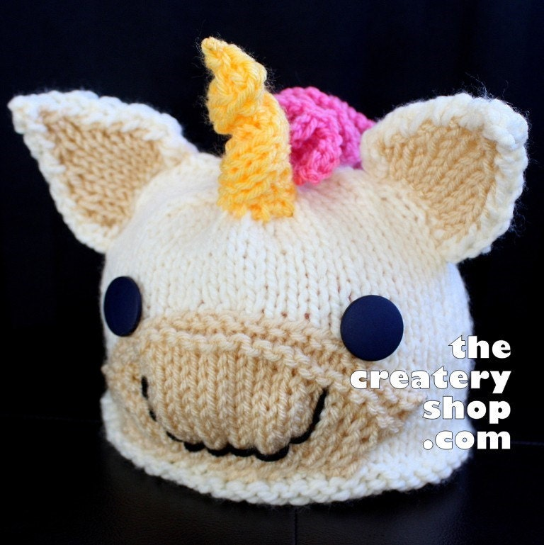 Knitting Patterns For Cute Hats : Knitting Pattern Cute Baby Unicorn Hat PDF by createry on Etsy