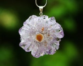 Stalactite Pendant, Amethyst Druzy Slice, Lavender Crystal Snowflake, Sterling Silver Bail  Inv. 44