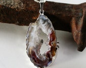 Geode Slice Pendant, Crystal Druzy Quartz, Agate, Chocolate, White, Mahogany Brown, Swirly Brazilian Gemstone Inv. 314