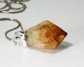 Citrine Point, Raw Pendant, Crystal Quartz, Orange, Natural Gemstone, Brazilian Unpolished Gem  Inv. 647