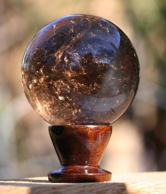 Sphere Smoky Quartz,  Phantom Foils Splitting the Sphere, Materials from Brazil Inv. 5