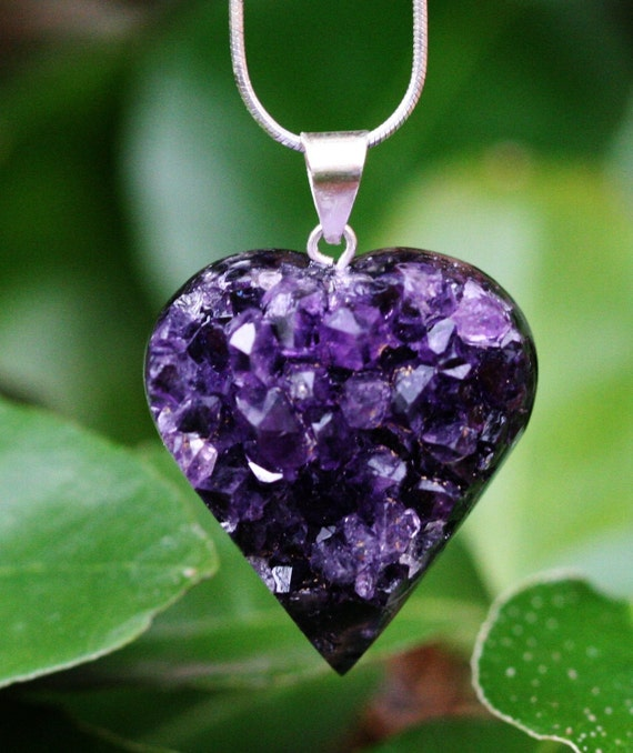 Amethyst Pendant Druzy Heart Dark Purple Hand Carved Valentine Brazilian Gemstone Inv. 133