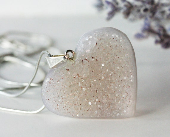 Heart  Pendant, Druzy Chalcedony Hand Carved Agate, Off White, Sand, Sparkly Valentine Inv. 420