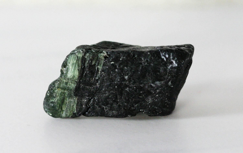 Black Tourmaline Raw Chunk Green Inclusions by GlimmeringGems  Raw