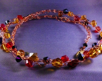 Autumn Winds  Amber Crystal Red Black Necklace