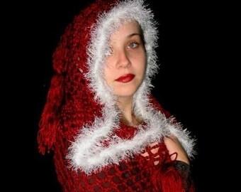 Renaissance Medieval Hooded  Crochet Shawl SCA  Cape.