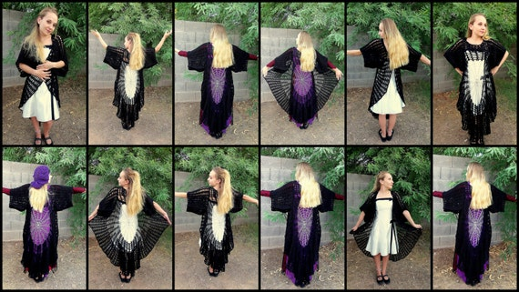 Stevie Nicks Raven Wings Spiderweb Mandala Tunic Vest and Gauntlets 3 Crochet PATTERNS
