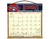 2016 CALENDAR - Washington Nationals Wooden  Calendar Holder filled with a 2016 calendar & a refill order form page for 2017.