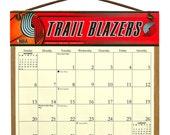 2016 CALENDAR - Portland Trailblazers Wooden  Calendar Holder filled with a 2016 calendar & a refill order form page for 2017.