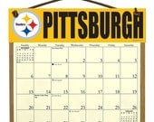 2016 CALENDAR - Pittsburgh Steelers Wooden  Calendar Holder filled with a 2016 calendar & a refill order form page for 2017.