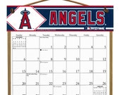 2016 CALENDAR - Los Angeles Angels Wooden  Calendar Holder filled with a 2016 calendar & a refill order form page for 2017.