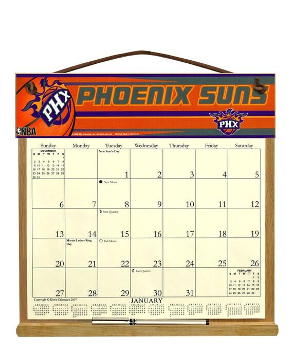 2016 CALENDAR - Phoenix Suns Wooden Calendar Holder filled with a 2016 ...