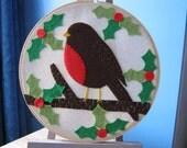 8 inch Christmas robin hoop art