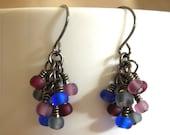 Wire Wrapped Gunmetal Dangle Earrings - Glass Beads - Dark Gray, Lavender, Blue, Maroon - Matte
