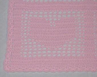 Handmade Pastel Pink Hearts Crocheted Baby Blanket Afghan