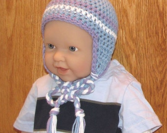 0 - 12 month Cotton Crocheted Earflap Beanie - Blue, Purple and White