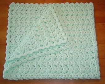 Handmade Pastel Green Crocheted Baby Blanket Afghan