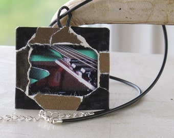Photo Pendant, Guitar Photography, Photo Art, Photo Necklace, Base Guitar Necklace, Decoupaged, One of a kind, Wearable Art, Still Life