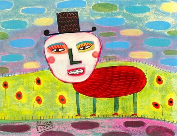 THE HEAT BUG folk art print Sunny Poppy Garden