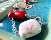Peppermint Candy-Striper...Howlite and Asian Pacific Coral Sterling Chain Necklace & Earring Set