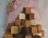 Building Block Set of 56 in mixed hardwoods in cotton bag