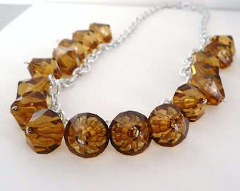 Amber Lucite Bauble Chain Necklace