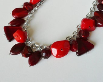 Red Lucite Bauble Long Chain Necklace