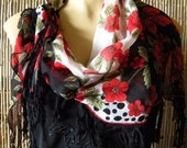 Anatolian Cotton Gauze Scarf....Black Red and White...Floral...Hottest Mediterranean SummerTrend..