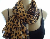 One Year Anniversary Sale ....Black spotted Brown Leopard ...ChiffonParisian Neck Tissu....Timeless