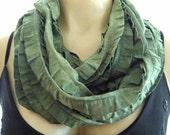NEW...Olive Green....Flamenco..Necklace Scarf...Batiked...Le dernier cri...