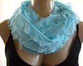 Aqua Larimar scarf with ruffles, Aqua blue infinity scarf, Flamenco Necklace Scarf, Cowl -Le dernier cri
