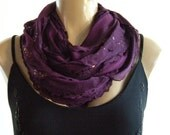 Sophisticated Plum....Flamenco..Necklace Scarf....Lightly sequined....Le dernier cri...