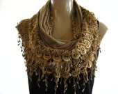 Last one..La Boheme..Ocre/Camel...laced and fringed Necklace/Infinity scarf. Love story.