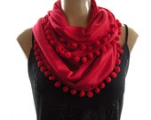 Pompom Necklace Scarf....Bright Red....Playful Chic