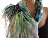 Waterdance...Watercolors topped with silver shimmer...Parisian Neck Tissu...Chiffon scarf
