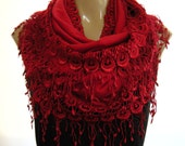 La Boheme  All red infinity scarf, laced and fringed Necklace/Infinity scarf-Love story.
