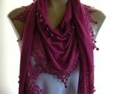 Dark Fuchsia Soft jersey Cotton trim Fringed Fuchsia  scarf