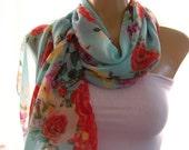 Rose garden....Gorgeous Roses on Aqua Green Sky...Parisian Neck Tissu....Perfect Summer scarf