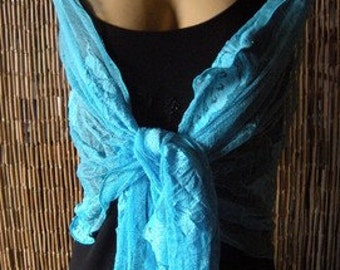 Lace Neck and Shoulder Rag.... Breathtaking Turquoise Blue Lace with Butterflies ...Pure Sophistication....