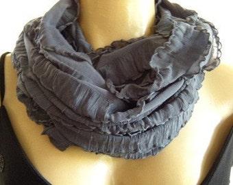 Smog-Fog Gray ruffle infinity scarf-Flamenco Necklace Scarf-Le dernier cri.