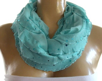 Aqua Sky blue ruffle infinity scarf  with sequins  Flamenco Necklace Scarf-Le dernier cri...
