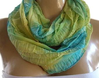Tropicana  Tie dye tropical colors ruffle infinity scarf FlamencoNecklace Scarf-Le dernier cri...