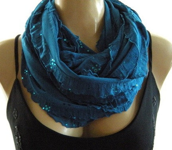 Petrol Blue......Flamenco..Necklace Scarf....Lightly sequined....Le dernier cri...
