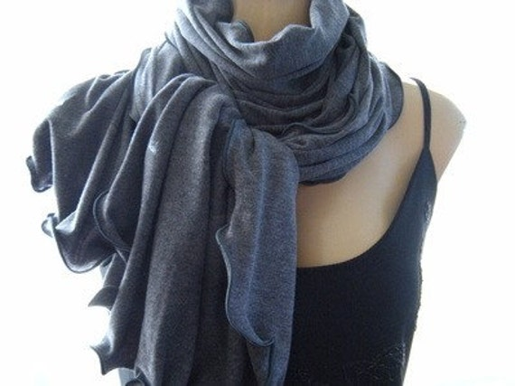 Dark Gray...Neck Rag with Charcoal Trimming....Soft European winter knit...Globetrotter..
