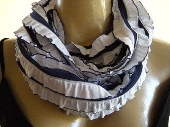 Last One...Nautical Stripes....Flamenco..Necklace Scarf...Le dernier cri...