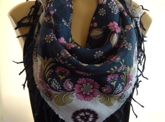 Limited collection...Anatolian Cotton Gauze Scarf....Petrol Blue and white with pink Flowers...Hottest Mediterranean Trend..