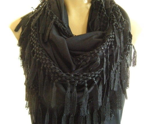 La Boheme..All black... laced and fringed Necklace/Infinity scarf. Love story.