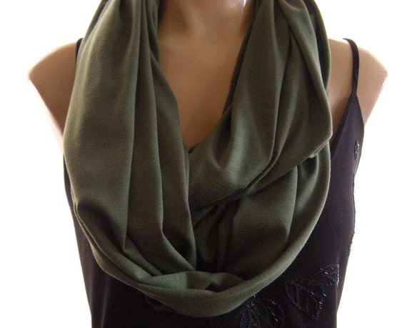 Olive green infinity scarf , Olive jersey Nomad cowl circle loop scarf