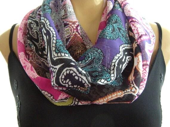 Joy of colors...Mehndi patterned ...Necklace Scarf......Chiffon....Instant gratification...